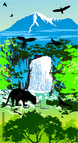 Wall Murals Birds, bees Jungle animals on the waterfall and mountains