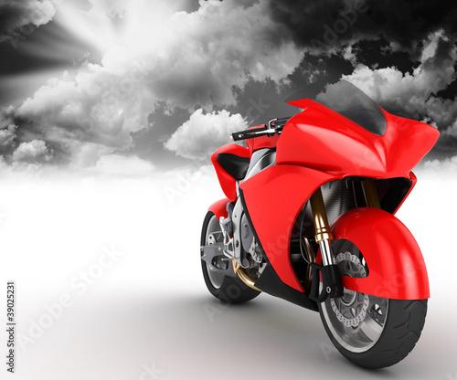 Poster Motocyclette Bolide rosso su sfondo bianco con sfondo di nuvole