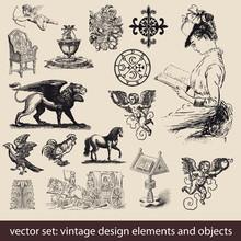 Vintage Elements, Objects - Vector Set