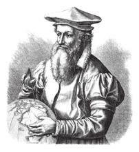 Gerard Mercator, Vintage Engraving.