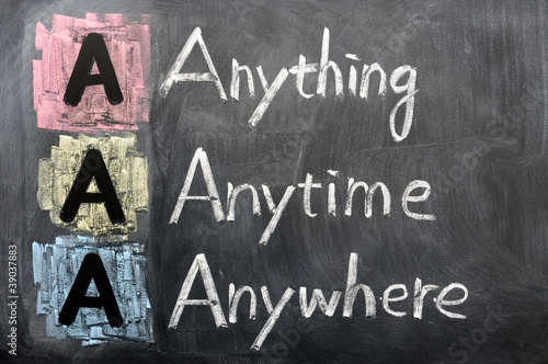 Photo Acronym of AAA - anything, anytime, anywhere
