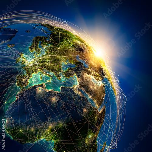 Plakaty ziemia glowne-trasy-lotnicze-w-europie