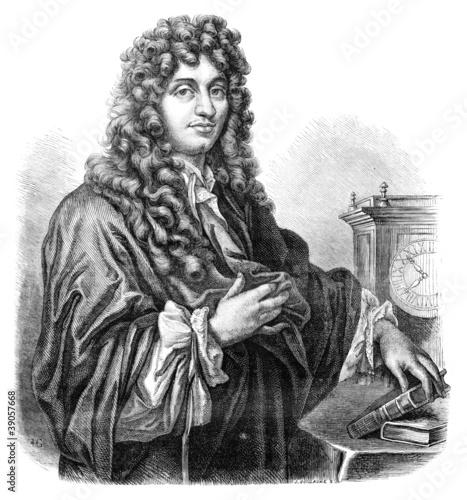Huygens. - Drawing of Edward Garnier. of Edelinck after, vintage Canvas-taulu