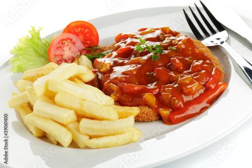 Zigeunerschnitzel mit Pommes frites Poster