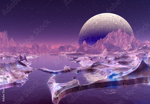 Poster Violet Alien Landscape with Moon and Mountains