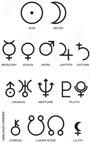 Valokuvatapetti Astrology Planet Symbols