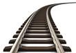 canvas print picture - Curved railroad track