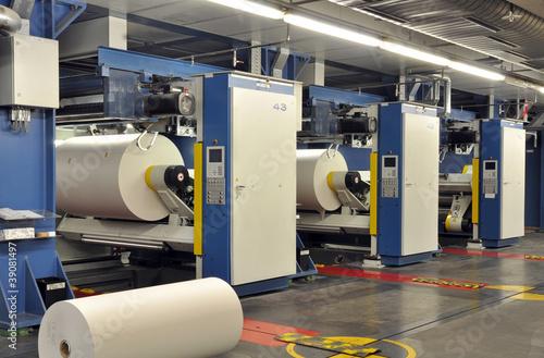Fotografie, Obraz  Druckmaschinen mit Papierrollen // printing press