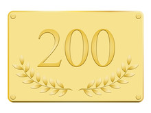 Plaque Commémorative 200 En Or
