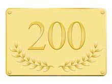 Plaque Commémorative 200 En Or