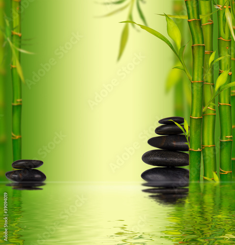 Bamboo spa background with water surface Slika na platnu