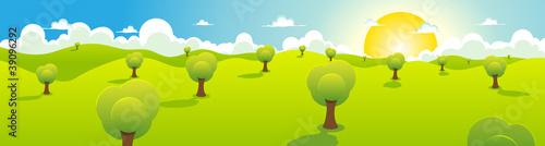 In de dag Lime groen Cartoon Spring Or Summer Landscape Header