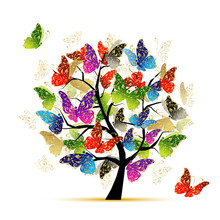 Art Tree With Butterflies For ...