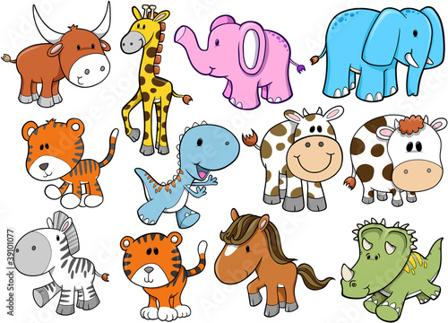 Door stickers Cartoon draw Animal Wildlife Safari Vector Set