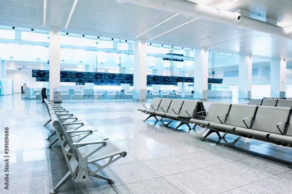 Fototapeta Waiting area in airport terminal