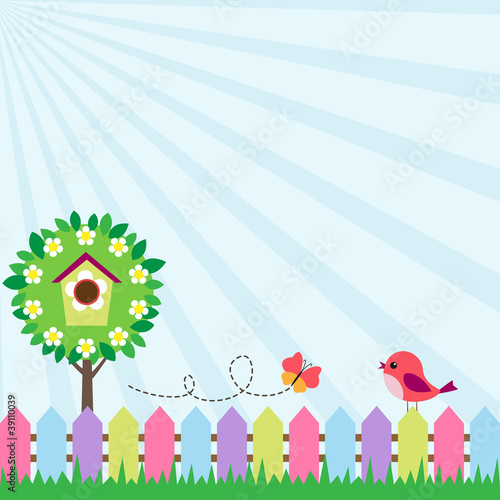 Background with bird and flying butterfly near blooming tree