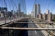 Manhattan skyscrapers as seen from Brooklyn Bridge