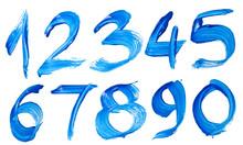 Blue Hand-written Number