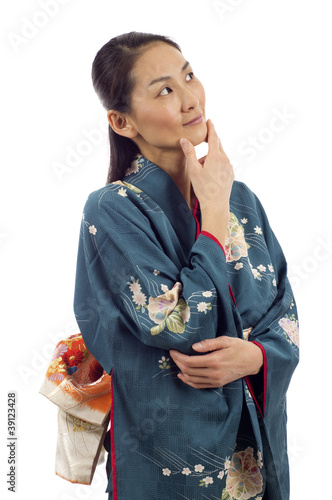 Fotografie, Obraz  Thoughtful Kimono Woman