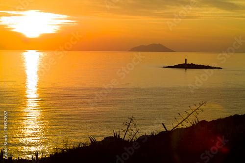 Fotografie, Obraz  Svetac and Vis island at Sunset
