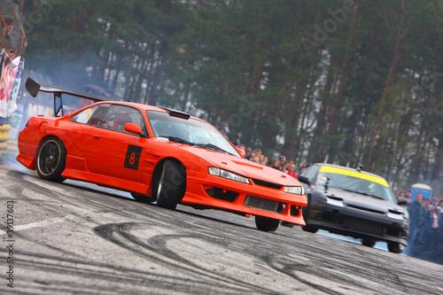 Deurstickers Snelle auto s Drift competition