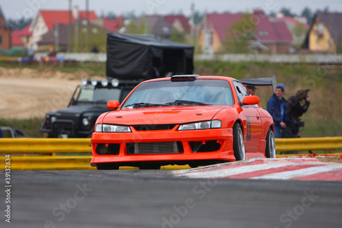 Deurstickers Snelle auto s red car on the track