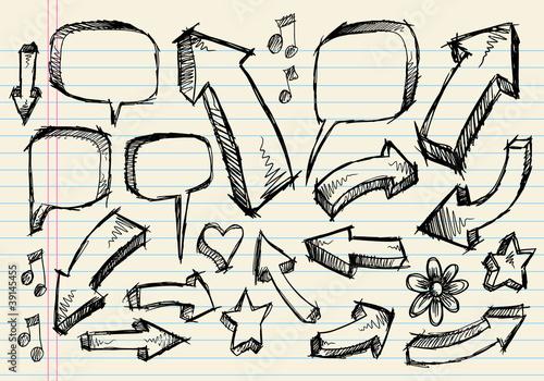 Door stickers Cartoon draw Doodle Sketch Speech Bubble Arrow Vector Illustration Set