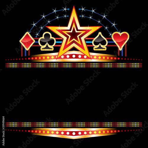 Star and poker symbols over empty neon плакат