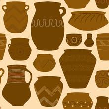Prehistoric Pottery Seamless Pattern