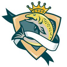King Salmon Fish Jumping Shield
