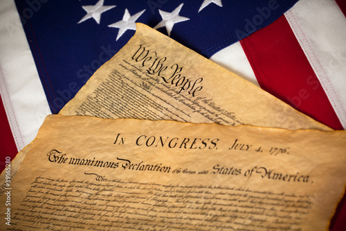 US Constitution and Declaration of Independence On flag Poster Mural XXL