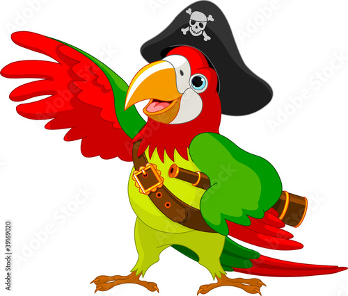 Garden Poster Fairytale World Pirate Parrot