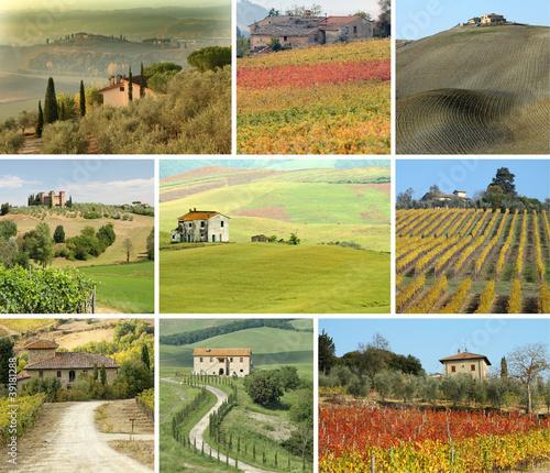 Dekoracja na wymiar kolaz-z-toskanskie-domy-w-malowniczym-krajobrazie