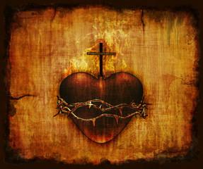 Plakat Sacred Heart on Parchment