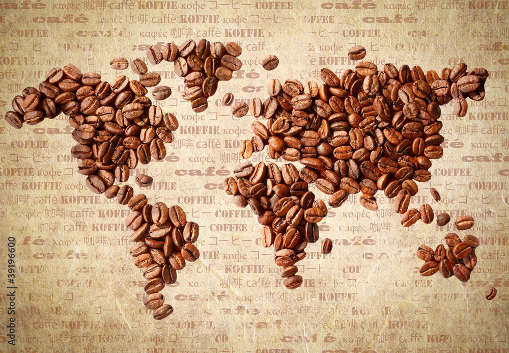Fototapety, obrazy: Mapa świata z ziaren kawy, vintage