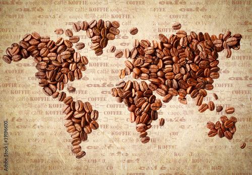 Obraz Mapa świata z ziaren kawy, vintage - fototapety do salonu