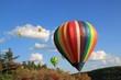 montgolfières au dessus des arbres.