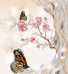 Naklejka Na szklane drzwi i okna artistic spring scenery with peony branch and butterflies