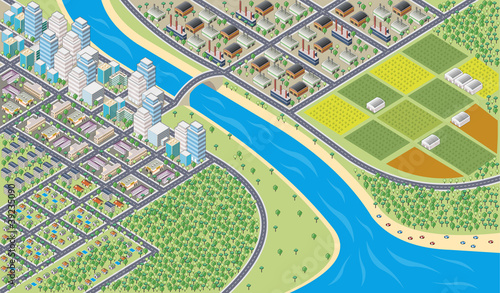 Poster Op straat Colorful cartoon isometric city