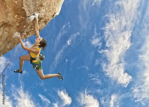 Wallpaper Mural Rock climber dangling.