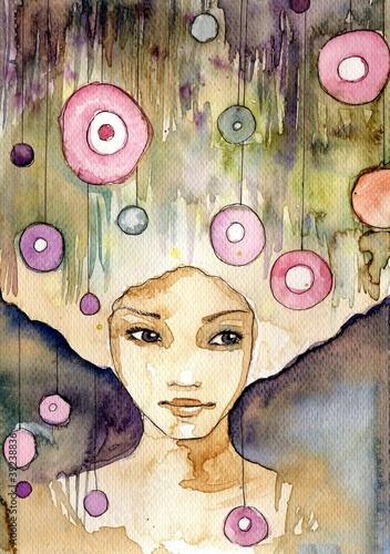 Poster Inspiration painterly magiczny portret młodej dziewczyny