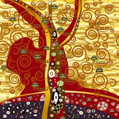 Obraz na Szkleabstrakter baum - gold