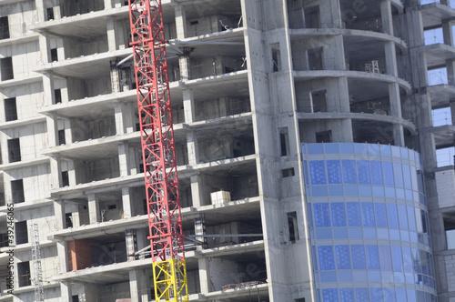 Papiers peints Rouge, noir, blanc Construction of Modern Building