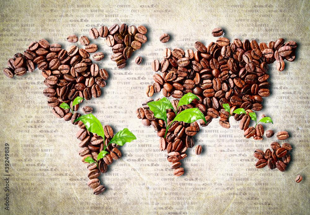 Fototapety, obrazy: Kawa na całym świecie, fototapeta mapa świata