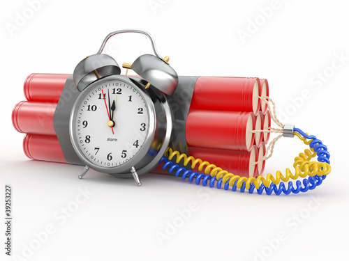 Countdown.  Time bomb with alarm clock detonator. Dynamit Poster
