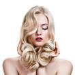 Leinwanddruck Bild - Beautiful Blonde Girl. Healthy Long Curly Hair.