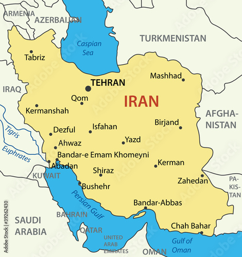 Fotografie, Obraz  Islamic Republic of Iran - vector map