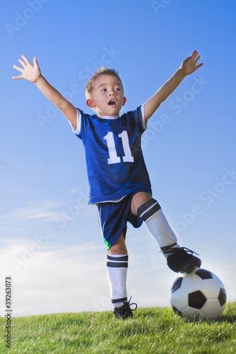 Fotografie, Obraz  Young Boy soccer player celebrating