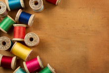 Antique Spools Of Thread On A ...