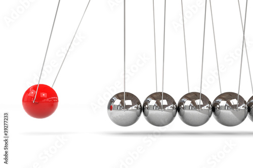 Fotografie, Obraz  Newton cradle with one red ball.